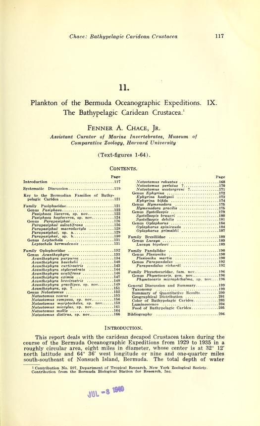 Plankton of the Bermuda Oceanographic Expeditions IX. The Bathypelagic Caridean Crustacea
